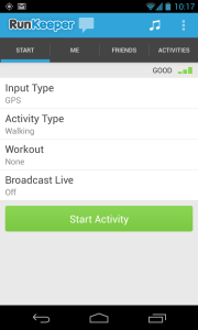RunKeeper start screen in English