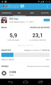 RunKeeper Me tab in French