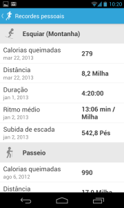 RunKeeper Personal Records in Portuguese