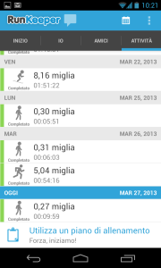 RunKeeper Activities tab in Italian