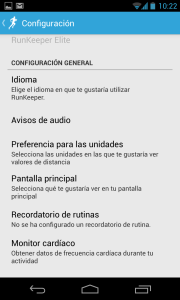 RunKeeper Settings in Spanish